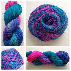 ROYAL JEWELS WW ~ Burst of brightness! Colors: bright pink, turquoise, blended purple, Yards: +\- 226 yards, Weight: worsted weight, Fiber: superwash merino Care instructions: This can be machine washed. To make finished items keep their vibrant colors, hand wash. Lay flat and shape to dry. #yarn #crochet #knit #weaving #yarnbaby