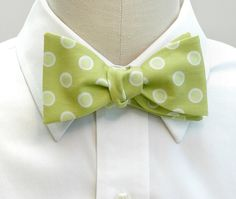Apple green cotton bow tie with white and green polka dots