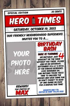 Superhero invitation 5x7-Superhero newspaper