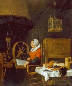 Brekelenkam, Quiringh Gerritsz. (1622-1669) Reading woman at he spinning wheel