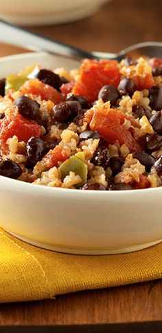 Cajun-style spicy black beans and brown rice create a memorable meatless meal only minutes away