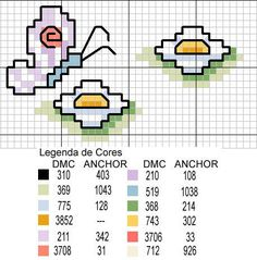 Butterlies and daisies flowers simple cross stitch pattern