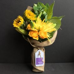Today's Posy: Sun Flowers, Lily, Spider Chrysanthemum and Rambling Rose with Lemon Leaf Foliage. Only $20 delivered right now! Anywhere in Manhattan and selected parts of Brooklyn and Queens.  #florist #manhattan #brooklyn #queens #newyork #posy #petite #petiteposy #petiteposyny #SunFlowers #Lily #SpiderChrysanthemum #mums #RamblingRose #rose #LemonLeaf #Foliage