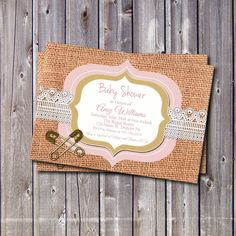 Printable Burlap and Lace Baby Shower by GooseCornerGreetings, $12.00