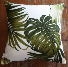 tropical palm leaf barkcloth cushion cover.