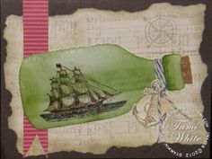 Stampin' Up Open Sea stamp set - ship in a bottle card