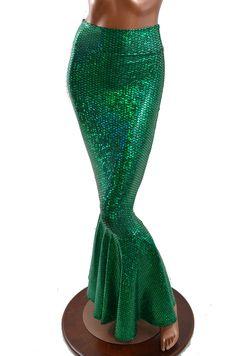 High Waist Emerald Green Metallic Hologram Scale Mermaid Skirt