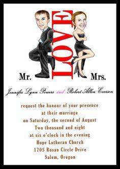 unique handmade Mr and Mrs Smith theme wedding invitation sets EWUI001 |