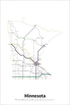 A Simplified Road Map Of Every Interstate Highway And US Route - Us road map poster