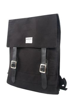 Nicce London Rucksack, messenager bag style with 100% leather straps.