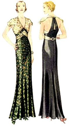1932 Evening Gown  This dress is pure 1930s elegance! It features a contrasting bodice with back stays and sash over a straight cut, yet fla...