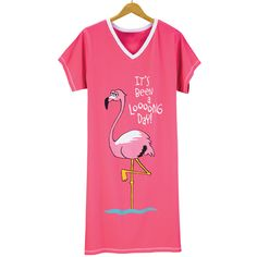 """Cuddle up all season long in this cute, """"It's Been a Looong Day"""" nightshirt. 100% cotton knit, V-neck, short sleeves. Available in S/M (35"""" long) and L/XL (38"""" long) $26.99."""