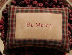Primitive Christmas Stitchery Pillow