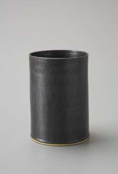 Lucie Rie  Cylindrical vase  ca. 1960 8 1/4 in. (21 cm) high Stoneware, manganese glaze