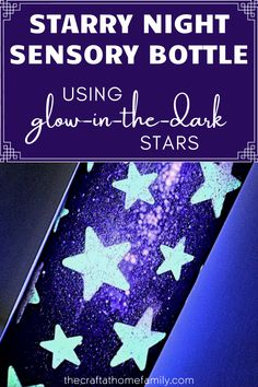 This gorgeous starry night sensory bottle is made using small stars that glow in the dark when charged under a light source! It's the perfect night-time calm-down bottle to help kids fall asleep, and the glow from the stars will fade on its own as they doze off! Learn how to make an easy DIY sensory bottle for babies or toddlers at home using hair gel, glitter and beautiful glowing constellations! It's a great quick sensory craft for kids to enjoy at nighttime!