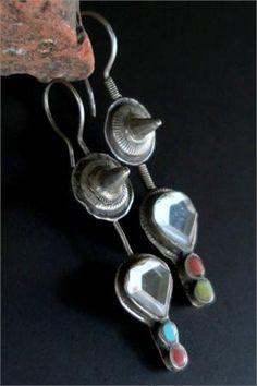 Old Hazara Tribal Jewelry Earrings in Silver