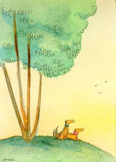 paintings by nicole wong | Original ACEO Painting Sunrise with a friend by ... | Nicole Wong