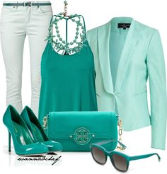 """Shades of Hue: Turquoise"" by wannabchef on Polyvore"