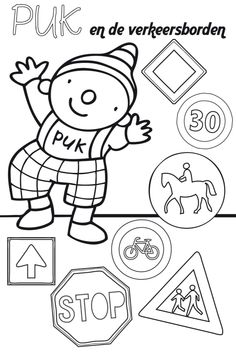 Puk in het verkeer kleurplaat #zokinderopvang