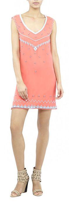 Nicole Miller Beaded Silk Shift Dress Neon Orange