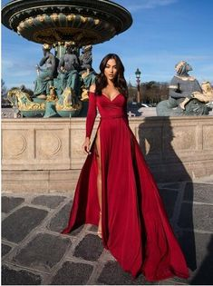 Satin evening dresses - Off The Shoulder Satin Burgundy Long Sleeved Evening Dress With High Slit Prom Dresses – Satin evening dresses Pretty Dresses, Sexy Dresses, Beautiful Dresses, Summer Dresses, Dresses For Parties, Simple Dresses, Glamour Dresses, Dark Red Dresses, Casual Dresses