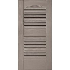 Builders Edge 12 in. x 25 in. Louvered Vinyl Exterior Shutters Pair