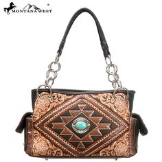 MW106-8085 Western Aztec Collection Handbag-Coffee