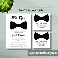 printable baby shower invitation template for boy created in microsoft word with free matching thank you