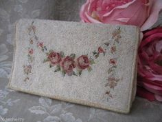 Antique French Beaded Evening Clutch Pochette Petit Point Pink Roses Purse