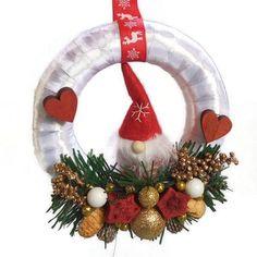 Karácsonyi kopogtató fehér alapon - Szárazvirág díszek webáruháza
