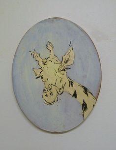 Mel Griffin, giraffe illustration on a tile. www.melgriffin.com