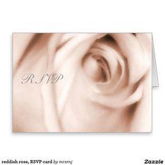 reddish rose, RSVP card
