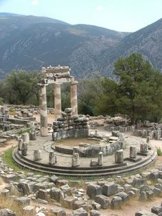 Delphi was an important ancient Greek religious sanctuary sacred to the god Apollo. Located on Mt. Parnassus near the Gulf of Corinth, the sanctuary was home to the famous oracle of Apollo which gave cryptic predictions and guidance to both city-states and individuals. In addition, Delphi was also home to the panhellenic Pythian Games. (Info by Mark Cartwright) -- AHE