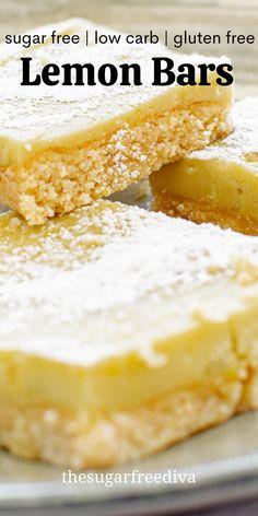 Lemon Recipes, Lemon Dessert Recipes, Delicious Desserts, Sugar Free Desserts, Low Carb Recipes, Sugar Free Recipes, Gluten Free Desserts, Diabetic Recipes, Baking Recipes
