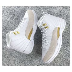 Air Jordan 12 OVO White 2016 - Sneaker Bar Detroit ❤ liked on Polyvore featuring shoes, sneakers, white trainers, white shoes, white summer shoes, summer shoes and summer footwear