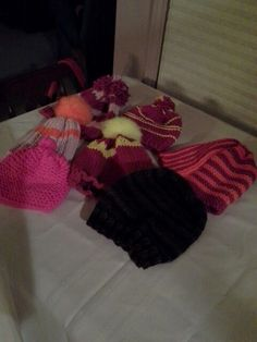 Knit hats for the poor made by Sammi & Grandma