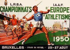 Heysel Stadium@23~27.8.1950@Belgium European Championships, Vintage Posters, Athlete, Baseball Cards, Sports, Belgium, 1950s, Logos, Brussels
