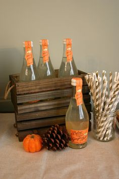 Belvoir favors for fall! Give each guest a Belvoir with a paper straw as their shower favor. Perfect for a fall bridal shower or fall baby shower. Great autumn give away: ginger beer, custom soda, orange themed soda!