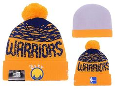 65bce6191 Men s   Women s Golden State Warriors New Era NBA Hardwood Classics Sports Cuff  Pom Pom Beanie Hat - Blue   Gold