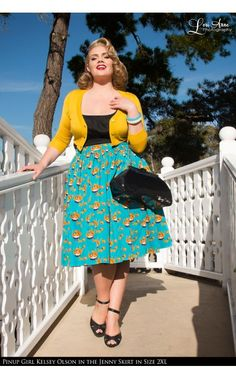 Pinup Couture- Jenny Skirt in Mary Blair Cats Print - Plus Size | Pinup Girl Clothing