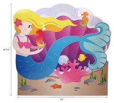 Mermaid headboard/wall art.  http://www.supercoolkidsrooms.com #mermaid #ocean #kidsroom #girls