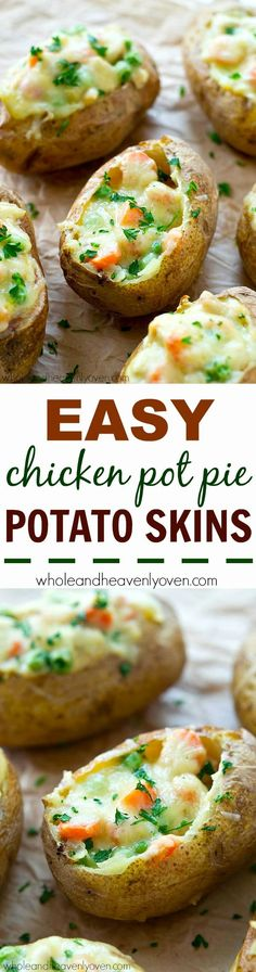 Easy Chicken Pot Pie Potato Skins - Get your chicken pot pie fix without all the work! These chicken pot pie potato skins are so easy to make and totally the ultimate comfort food appetizer!