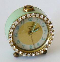 Vintage aqua clock with rhinestones
