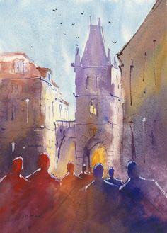 Original Watercolor Powder Tower Prague 10x14 by NovotnyArtGallery, €50.00
