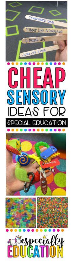 Easy sensory ideas for special education teachers on a budget Preschool Special Education, Preschool Classroom, Kindergarten, Preschool Schedule, Future Classroom, Classroom Ideas, Sensory Activities, Learning Activities, Sensory Play