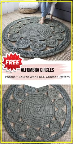 crochet Alfombra Circles Rug free pattern crochet Alfombra Circles Rug free pattern – easy crochet Rug Pattern for beginners via Share a P Crochet Doily Rug, Crochet Rug Patterns, Crochet Carpet, Crochet Circles, Crochet Home, Free Crochet, Knitting Patterns, Easy Crochet, Crochet Circle Pattern