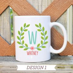 Custom Floral Name Mugs - 8 Designs
