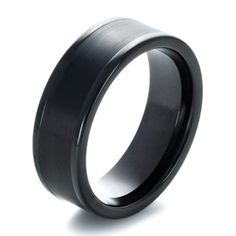 Men's Wedding Bands-Men's Brushed Black Tungsten Ring