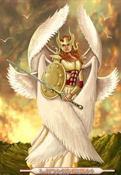 Los serafines  Los serafines son ángeles muy poderosos y tienen 6 alas: 2 para tapar la cabeza, 2 para tapar el cuerpo y 2 para los pies. Esto se debe a que sólo Dios puede contemplar a estos ángeles.