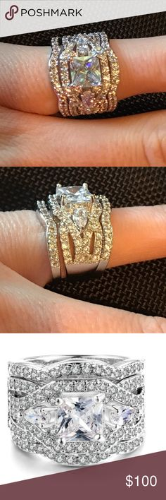 New 3 piece CZ diamond ring New 3 piece CZ diamond engagement ring. Very stunning on. This ring is a show stopper. I also sell more rings, necklaces, and earrings. Jewelry Rings